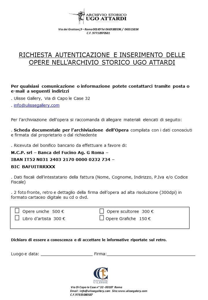Documento per l'archiviazione opere di Attardi p.1